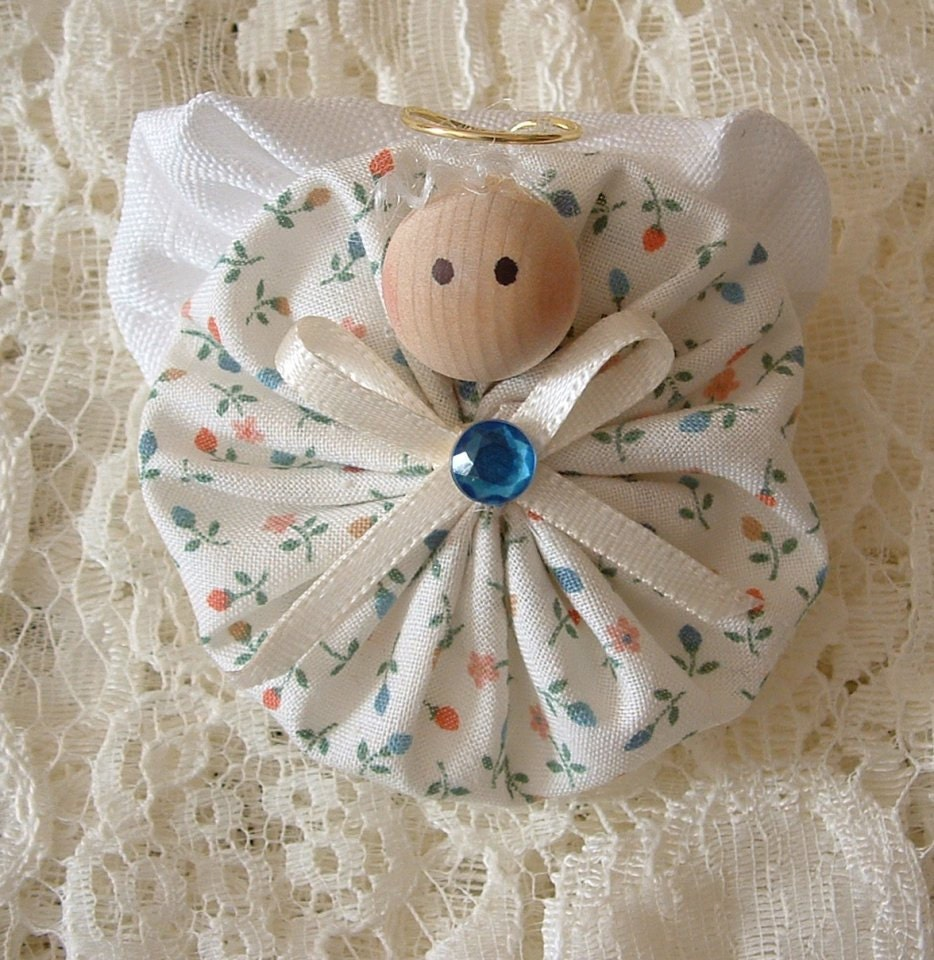 Christmas Angel Pins Handmade Fabric Yoyo Decoration