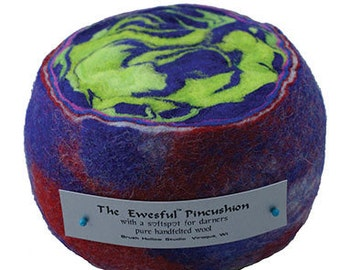 Felted Wool Ewesful Pincushion, Hand Made Felted Wool, Sewing Needle Craft Supply