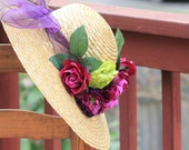 Natural Straw Kentucky Derby Style, Purple and green floral, wide Brimmed Hat