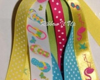 initial ball ribbon keychain