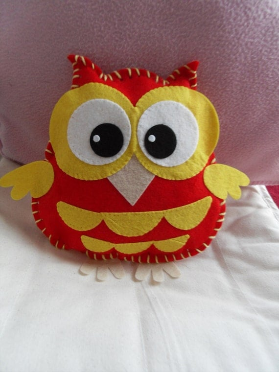 Cute fun handsewn felt owl character cuddly toy cushion in red and yellow