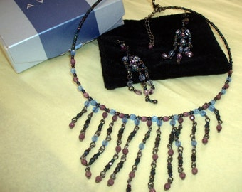 AVON 1980s Beaded Bib Fringe necklace with matching ear rings