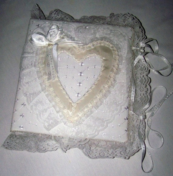 heart with pearls all white handmade wedding photo album as a gift