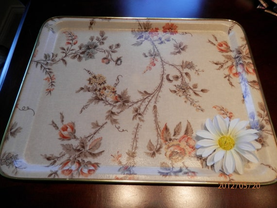 Mid Century Fiberglass Tray Made in UK, by Chalford, Glos and Arnold Designs, Vanity Tray, Floral Tray made of fiberglass