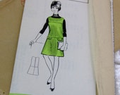 """1960 Vintage Formal Pinafore/Twiggy DRESS Sewing Pattern, Uncut and FF with original envelope & date stamp 1968 - OOP - 36"""" Chest"""