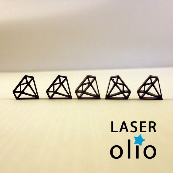 Tiny diamond charms, Qty. 10, black lasercut acrylic (DNR)