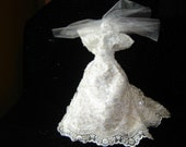 Wedding Dress Wine Bottle Cover --  Embroidered Scallopped Lace