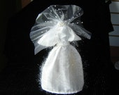 Wedding Dress Water Bottle Cover -- Shiny Veil With Pearl Attachment
