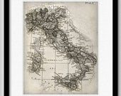 Beautiful Map of Italy - Print 8x10