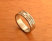 Hammered, Hand Forged, Tribal Grooved Ring Band in 6mm Stainless Steel - The Radial