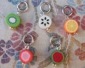 Ten Random Fimo fruit stitch markers