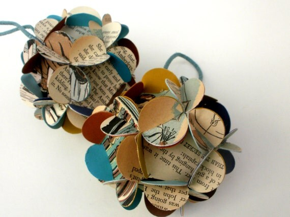 Handmade Ball Ornaments Upcycled Vintage Book Pages Colorful Set of 2 SMALL Sized Ornaments Photography Props READY to Ship