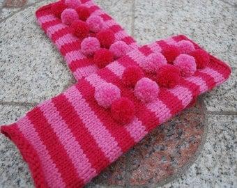 On sale,Pink pom poms handmade fingerless gloves