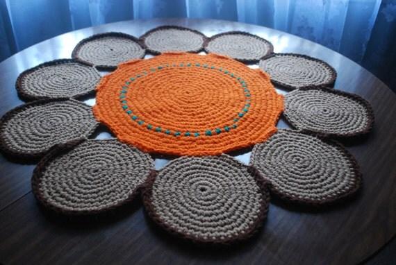 handmade circle rug flower