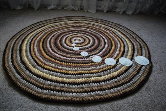 Brown handmade circle rug