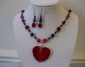 Heart a Fire 17 inch Necklace and Earrings