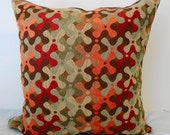 Designer Decorative Pillow Cover of Vintage 1970s Geometric Shape Print, Olive Green, Red, Orange, Gold and Brown -20x20