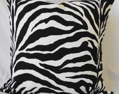 Decorative Zebra Pillow Cover, Throw Pillow Cover in Black and White 20x20