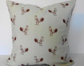 Rooster Decorative Pillow Cover,  Throw Pillow Cover, 18x18, Red, Burgundy, Waverly Fabrics, Pecking Order, Cushion Cover
