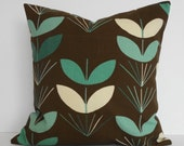 1960s Retro Indoor/Outdoor Teal and Brown Decorative Pillow Cover, Duralee Fabrics, 18x18
