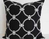 Indoor/Outdoor Black and White Decorative Pillow Cover, Throw Pillow Cover, Duralee Fabrics, Rings 18x18