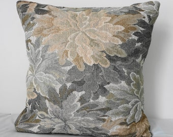 Decorative Floral Pillow Cover, Throw Pillow Cover, Olive Green Flowers, 16x16, Cushion Cover