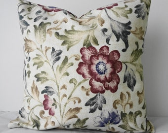 Decorative Floral Pillow Cover, Throw Pillow Cover, Robert Allen Fabrics, Olive Green, 16x16, Cushion Cover
