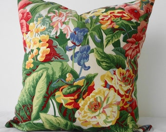 Floral Print Decorative, Throw Pillow Cover, Green, Red, Yellow, Cushion Cover