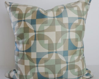 Geometric Pillow Covers, Robert Allen Fabric, Decorative Pillow Cushion Cover, Sage Green, Blue, Tan 16x16