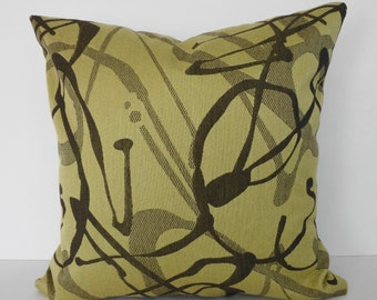 Decorative Yellow Throw Pillow Cover, Yellow & Brown, 18x18, Cushion Cover