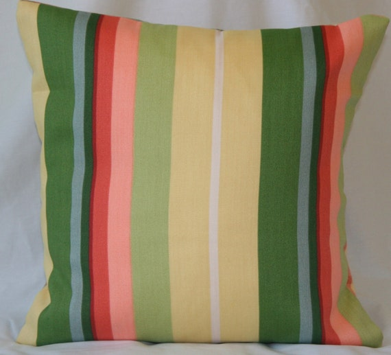 Indoor/Outdoor Decorative Pillow Cover, Duralee Fabrics -Striped Throw Pillow in yellow, green, coral, blue  16x16