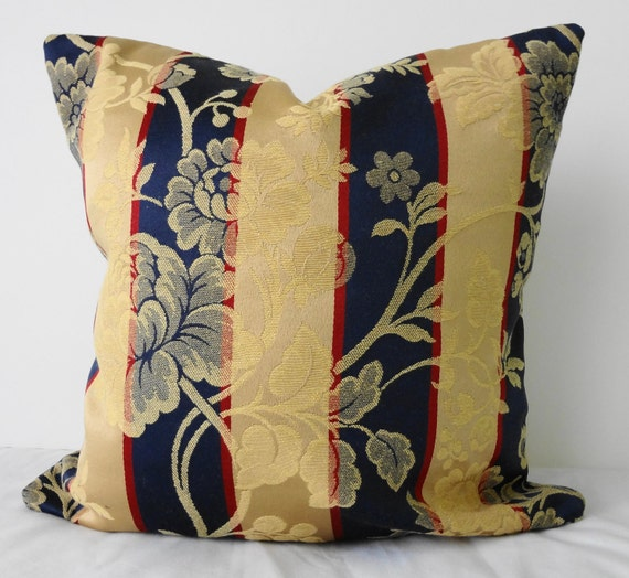 Decorative Pillows, Throw Pillow Covers, Striped, Navy Blue, Gold 16x16, Cushion