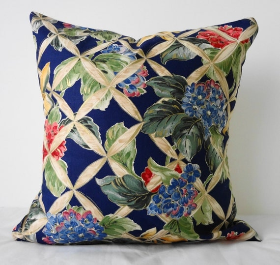 Flower Print Decorative Pillow Cover, Navy Blue 16x16, Cushion Throw Pillow Cover