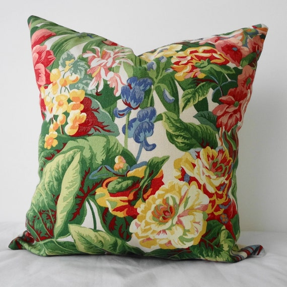Decorative Floral Pillow Covers : Floral Print Decorative Throw Pillow Cover Green Red