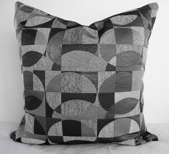 Geometric Decorative Pillow Covers, Black, Silver & Gray , 20x20, Grey, Circles, Squares