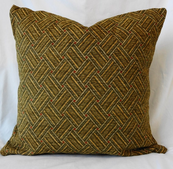 Herringbone Decorative Pillow Cover, Throw Pillow in Olive Green, Gold 18x18