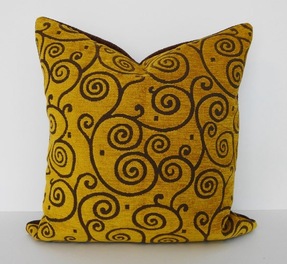 Gold Decorative Pillow Cover, Throw Pillow Cover, Brown16x16
