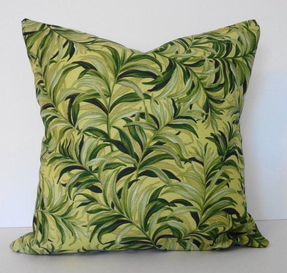 Decorative Pillow Cover, Waverly Fabrics, Maui Sun N Shade, Hawaiian print, Green, Golden, Yellow, 16x16