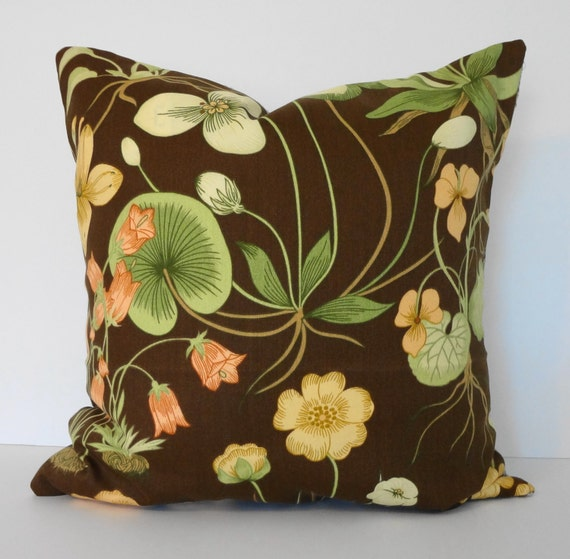 brown green yellow garden decorative pillow cover throw. Black Bedroom Furniture Sets. Home Design Ideas