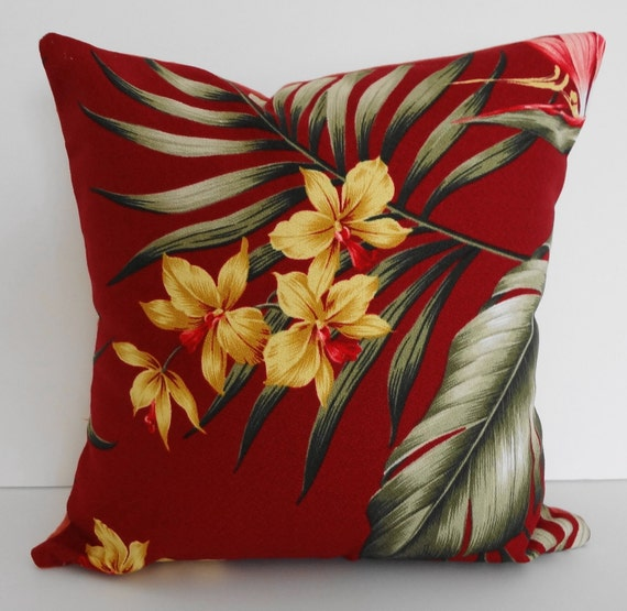 Tropical Throw Pillow Cover Red Hawaiian Print 12x12