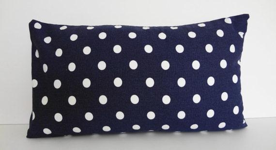 Polka Dot Navy Blue Lumbar Decorative Pillow Cover, Throw Pillow Cover, Dark Blue,12x20