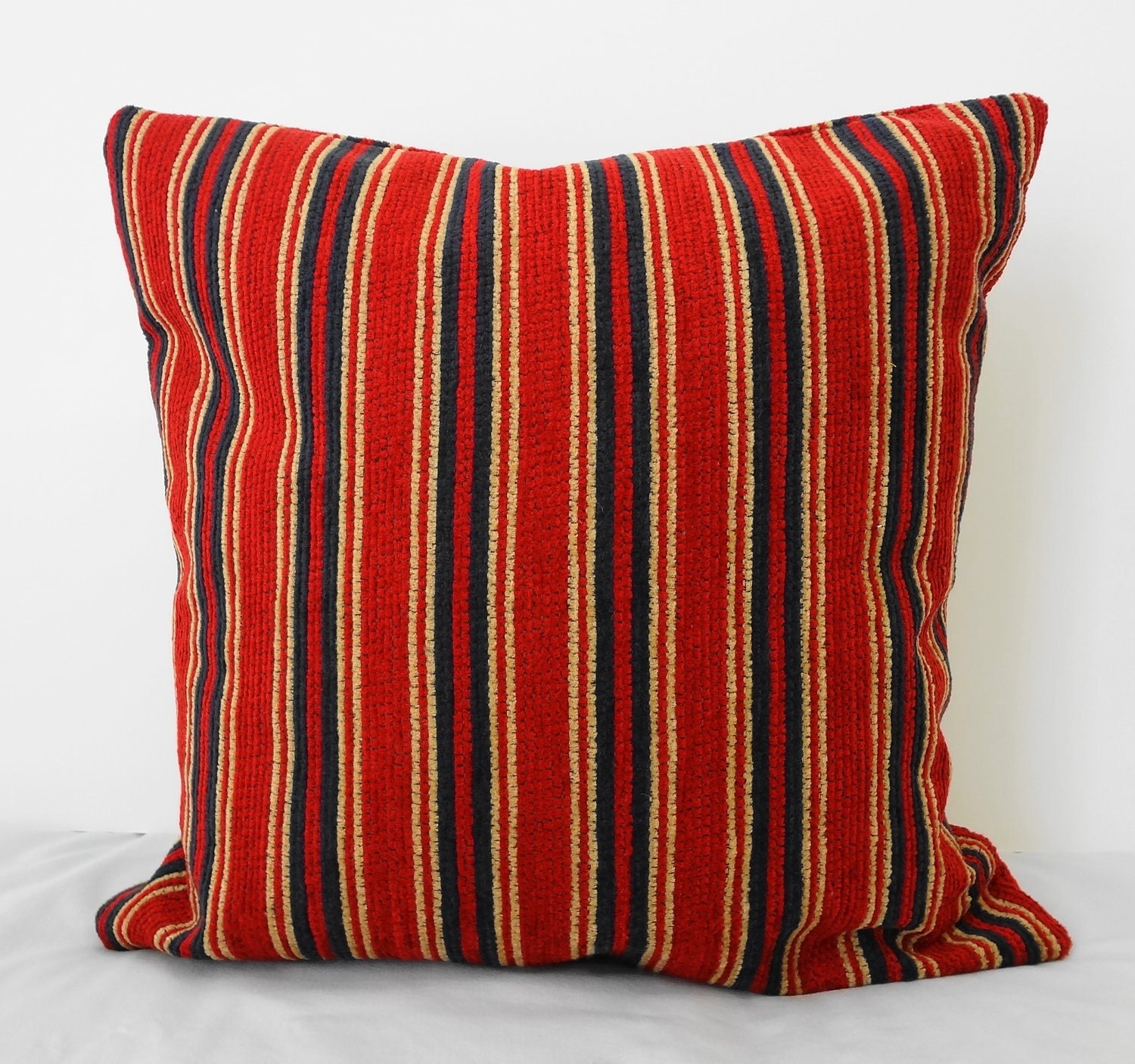 Blue Striped Decorative Pillows : Decorative Throw Pillow Cover Red & Blue Striped Pillow