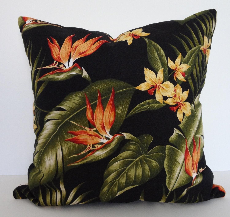 Tropical Print Throw Pillow Birds Of Paradise Decorative