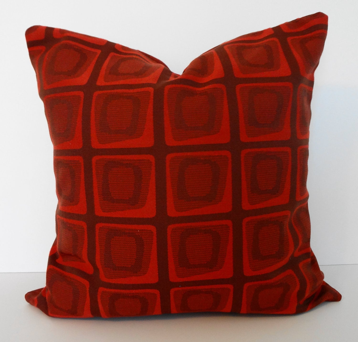 Throw Pillow Red : Geometric Decorative Pillow Cover Red Brown Throw by pillows4fun