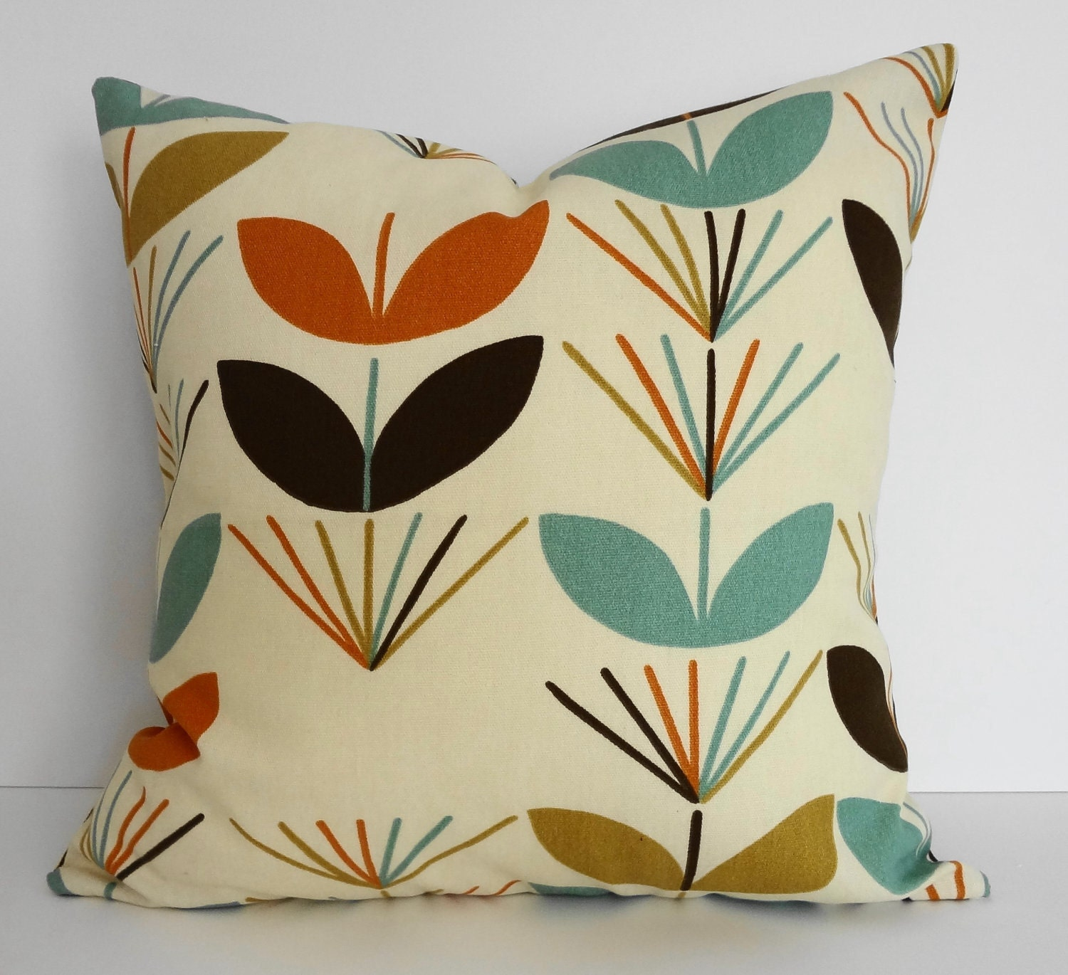 Cushion Colour Combinations: 1960s Retro Teal Brown Orange Gold Mod Decorative Pillow