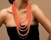 Spring Coral Chunky Beaded Necklace