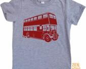 Vintage DOUBLE DECKER BUS Custom Kids T Shirt - american apparel Kid Sizes 2 4 6 8 10 & 12
