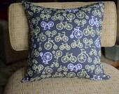 """Yellow & White Bikes on Grey 18""""x18"""" Pillow Cover"""