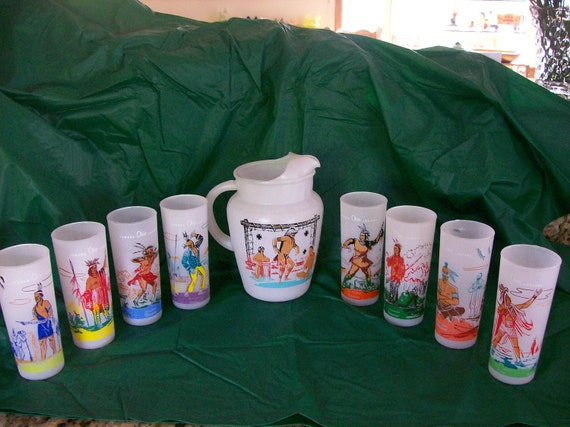 Bonded Oil Co Ohio Indian Pitcher Amp Glass Set