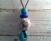 Buddha Bead - stacked group ceramic pendant